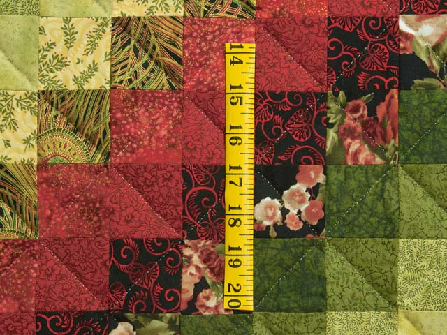 Burgundy Green and Golden Tan Trip Around the World Quilt Photo 5