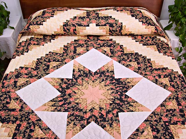 Gold Rose and Black Lone Star Log Cabin Quilt Photo 1
