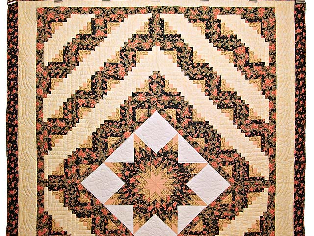 Gold Rose and Black Lone Star Log Cabin Quilt Photo 2