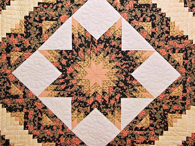 Gold Rose and Black Lone Star Log Cabin Quilt Photo 3