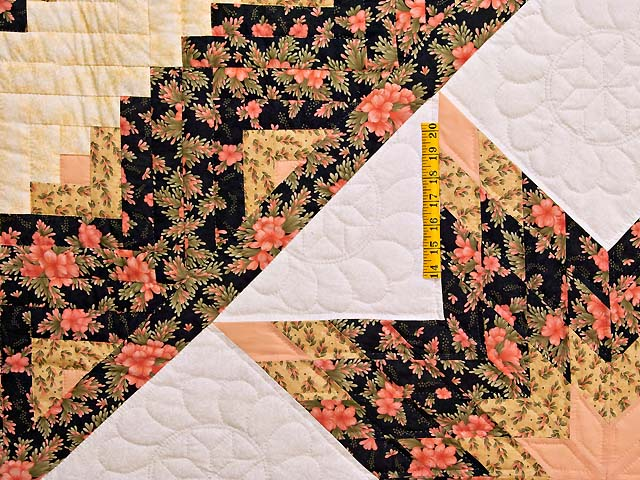 Gold Rose and Black Lone Star Log Cabin Quilt Photo 4