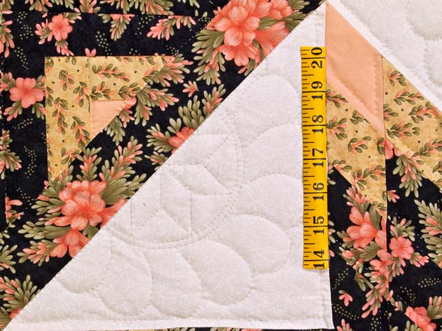 Gold Rose and Black Lone Star Log Cabin Quilt Photo 5