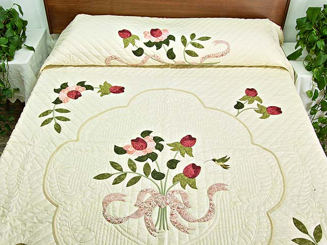 Red Roses on Cream Lancaster Treasures Quilt Photo 1