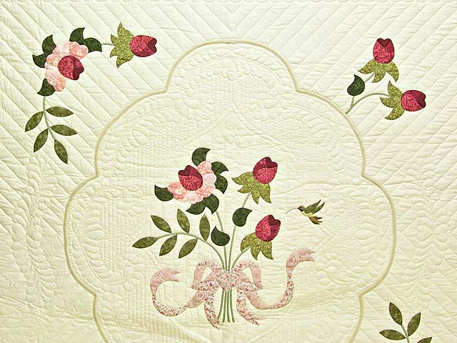 Red Roses on Cream Lancaster Treasures Quilt Photo 3