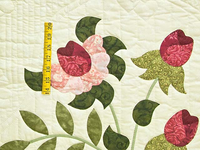 Red Roses on Cream Lancaster Treasures Quilt Photo 5