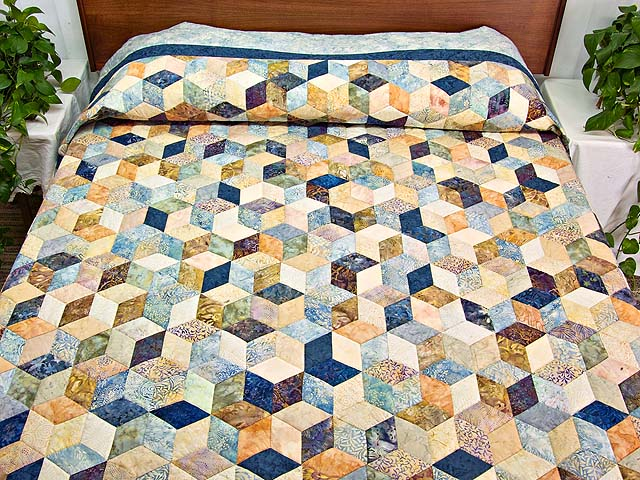 Pastel Blue Hand Painted Tumbling Blocks Quilt Photo 1