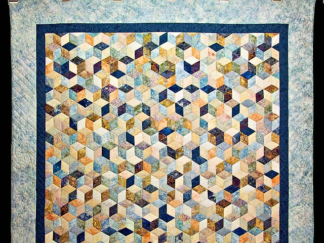 Pastel Blue Hand Painted Tumbling Blocks Quilt Photo 2