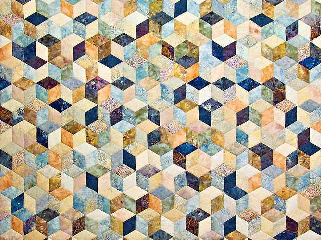 Pastel Blue Hand Painted Tumbling Blocks Quilt Photo 3