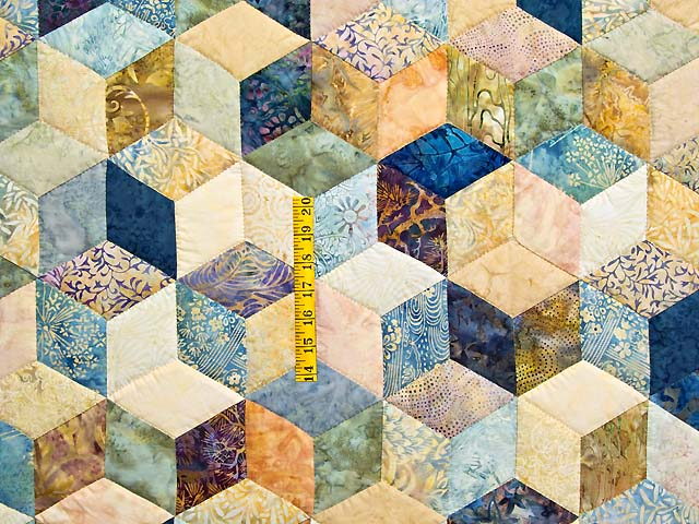 Pastel Blue Hand Painted Tumbling Blocks Quilt Photo 4