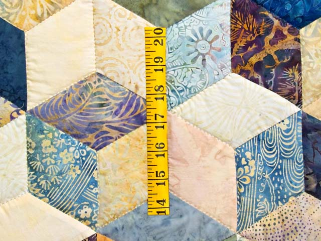 Pastel Blue Hand Painted Tumbling Blocks Quilt Photo 5