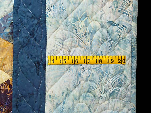 Pastel Blue Hand Painted Tumbling Blocks Quilt Photo 7