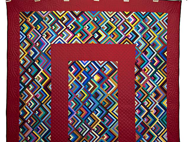 Burgundy and Multicolor Almost Amish Chevron Quilt Photo 2