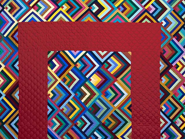 Burgundy and Multicolor Almost Amish Chevron Quilt Photo 3