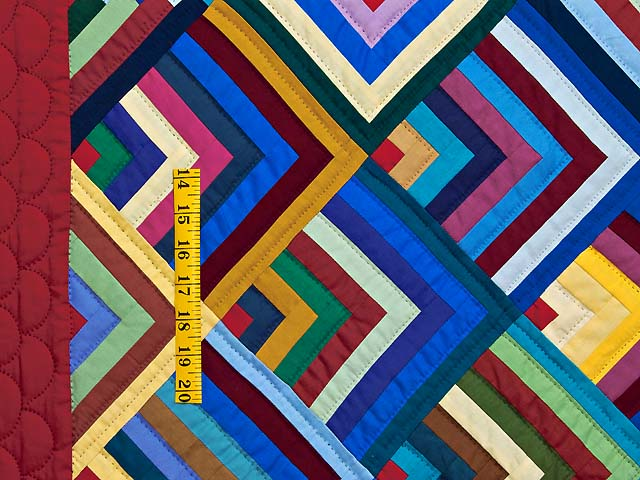Burgundy and Multicolor Almost Amish Chevron Quilt Photo 4