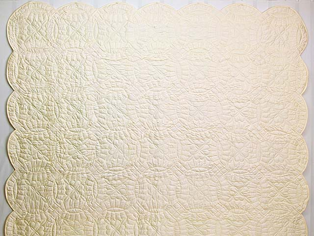 Polished Cream White Cotton Double Wedding Ring Quilt Photo 2