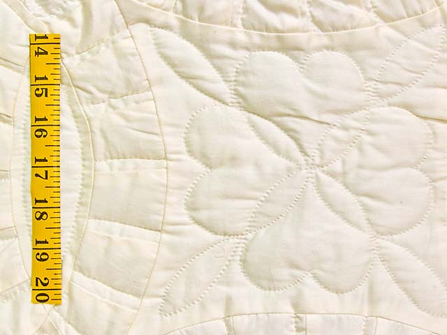 Polished Cream White Cotton Double Wedding Ring Quilt Photo 5