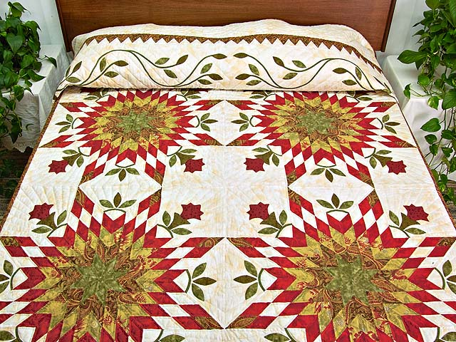 King Sage and Red Starburst Quilt Photo 1