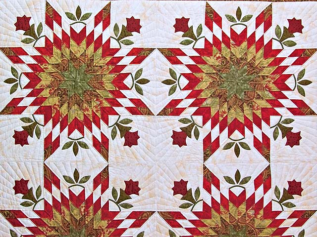 King Sage and Red Starburst Quilt Photo 3