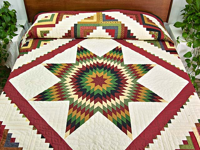 Country Colors Extra Fine Lone Star Log Cabin Quilt Photo 1