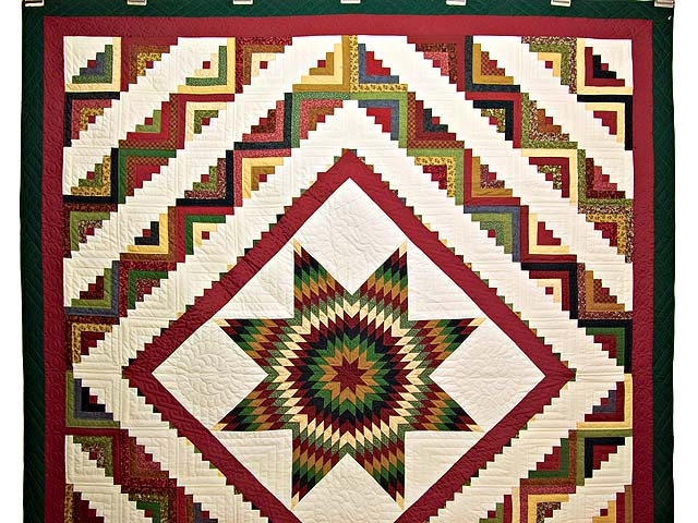 Country Colors Extra Fine Lone Star Log Cabin Quilt Photo 2