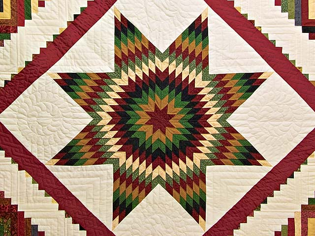 Country Colors Extra Fine Lone Star Log Cabin Quilt Photo 3