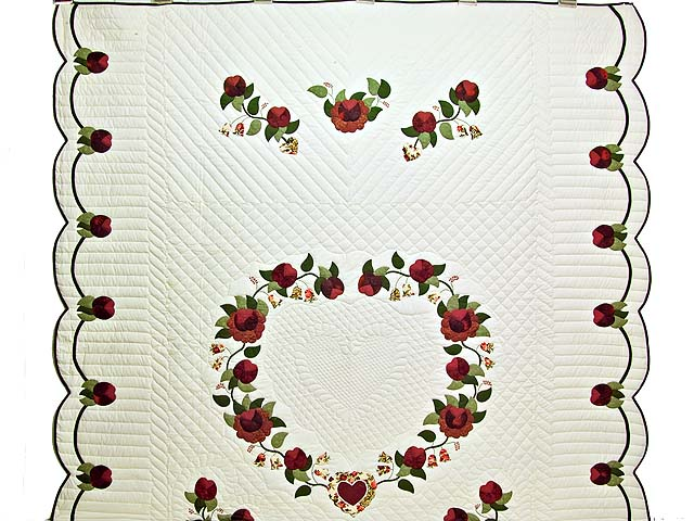 Burgundy and Green Heart of Roses Quilt Photo 2