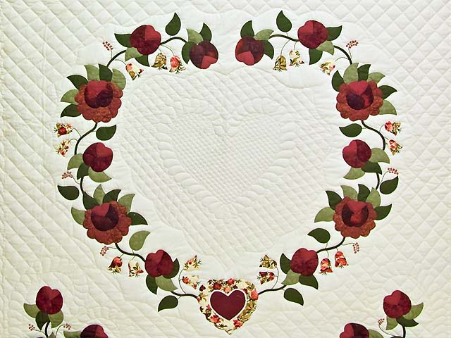 Burgundy and Green Heart of Roses Quilt Photo 3