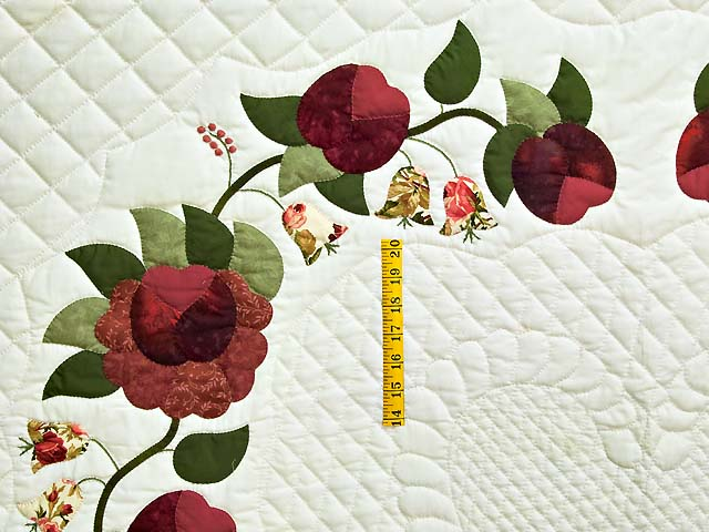 Burgundy and Green Heart of Roses Quilt Photo 4