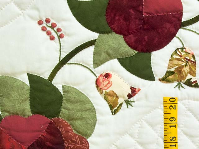 Burgundy and Green Heart of Roses Quilt Photo 5