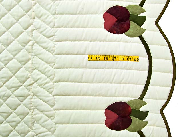 Burgundy and Green Heart of Roses Quilt Photo 7