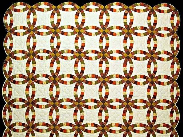 Brown Rust Sage and Gold Double Wedding Ring Quilt Photo 2