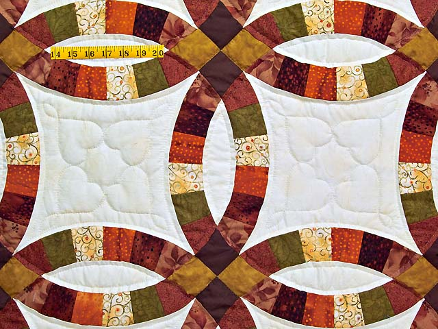 Brown Rust Sage and Gold Double Wedding Ring Quilt Photo 4