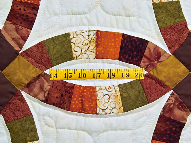 Brown Rust Sage and Gold Double Wedding Ring Quilt Photo 5