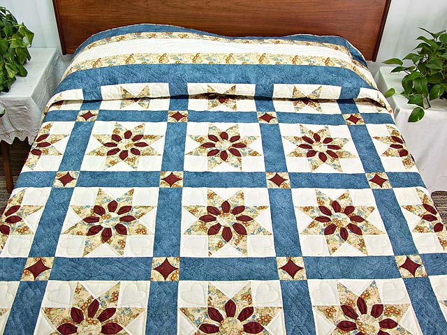 King Blue and Dark Burgundy Dahlia Star Quilt Photo 1