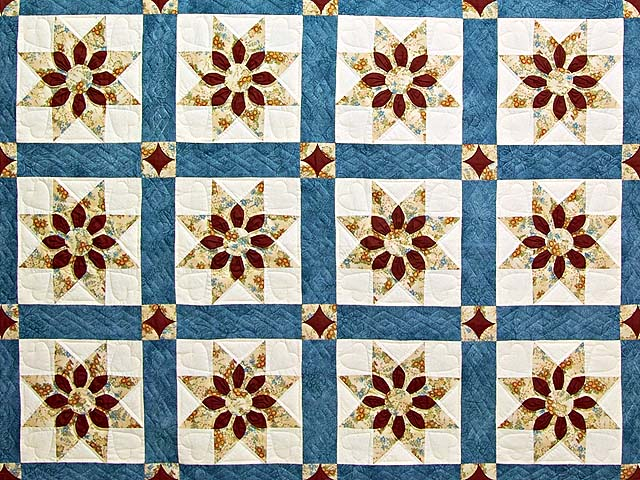 King Blue and Dark Burgundy Dahlia Star Quilt Photo 3