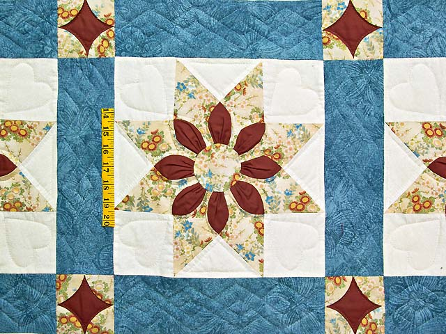 King Blue and Dark Burgundy Dahlia Star Quilt Photo 4