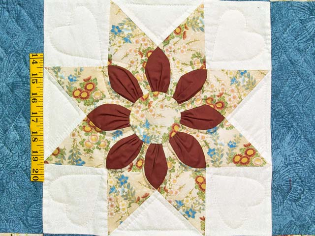 King Blue and Dark Burgundy Dahlia Star Quilt Photo 5