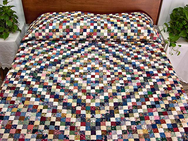 King Navy Burgundy and Multi Postage Stamp Quilt Photo 1