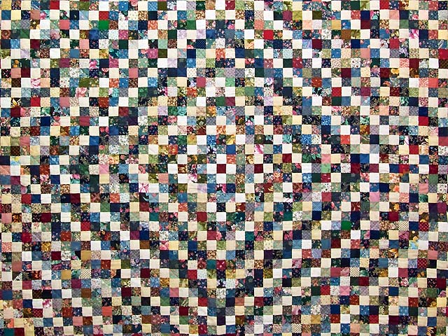 King Navy Burgundy and Multi Postage Stamp Quilt Photo 3