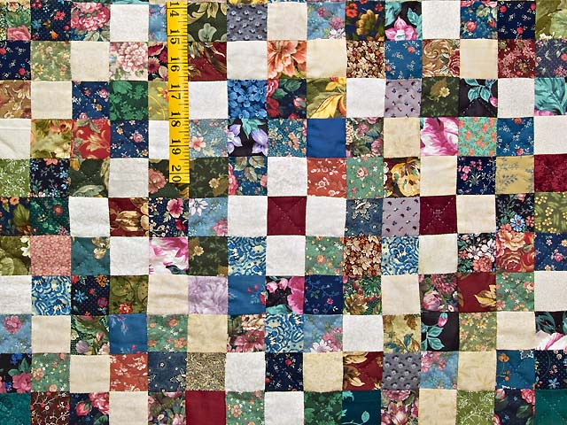 King Navy Burgundy and Multi Postage Stamp Quilt Photo 4