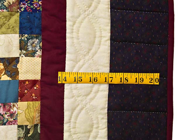 King Navy Burgundy and Multi Postage Stamp Quilt Photo 7