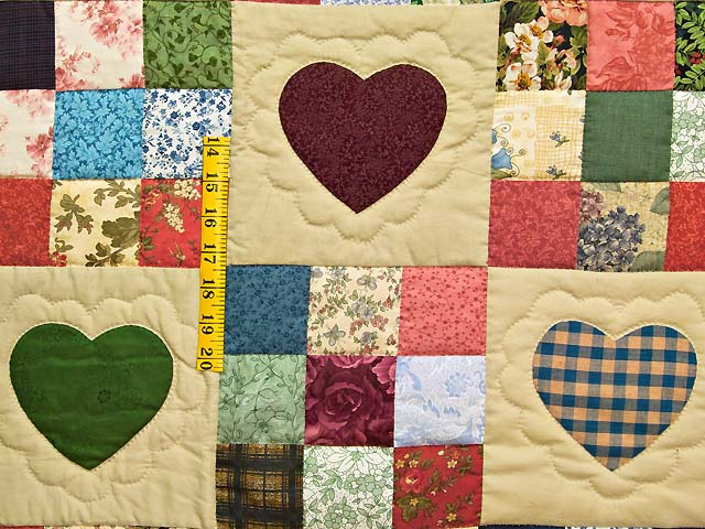 Dark Green Burgundy and Multicolor Hearts and Nine Patch Quilt Photo 4