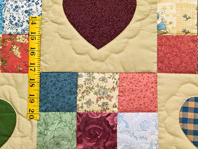 Dark Green Burgundy and Multicolor Hearts and Nine Patch Quilt Photo 5