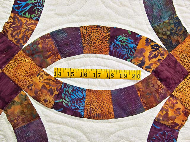 Gold Purple and Blue Batik Double Wedding Ring Quilt Photo 5