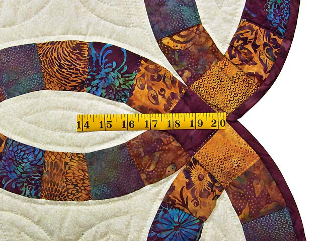 Gold Purple and Blue Batik Double Wedding Ring Quilt Photo 7