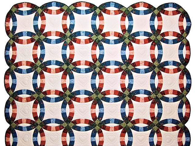 Blue and Red Double Wedding Ring Quilt Photo 2