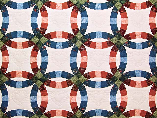 Blue and Red Double Wedding Ring Quilt Photo 3