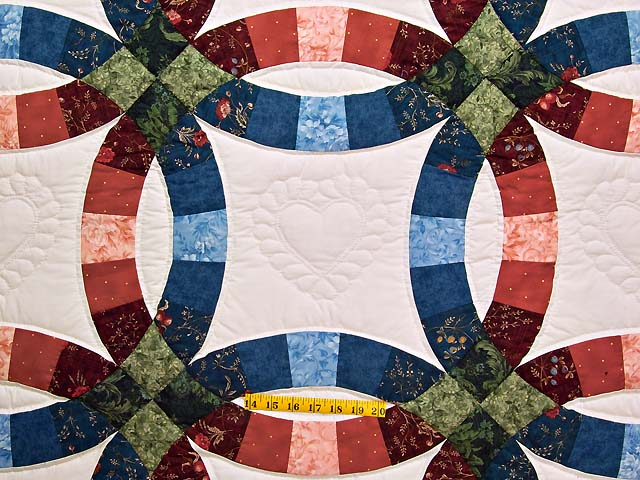 Blue and Red Double Wedding Ring Quilt Photo 4