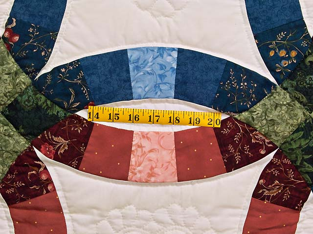 Blue and Red Double Wedding Ring Quilt Photo 5