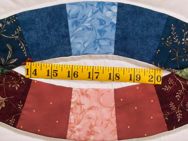 Blue and Red Double Wedding Ring Quilt Photo 6